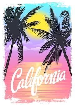 Grafica tipografica della spiaggia della california.