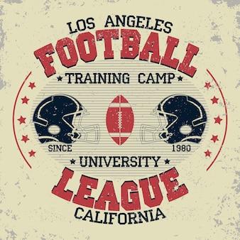 Tipografia del calcio californiano, grafica del timbro della t-shirt, design di stampa di t-shirt vintage