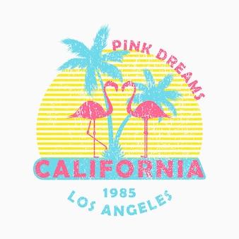 Tipografia grunge della california los angeles per la maglietta di vestiti di design con fenicotteri e palme