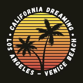 Tipografia california los angeles venice beach per tshirt di vestiti di design con palme