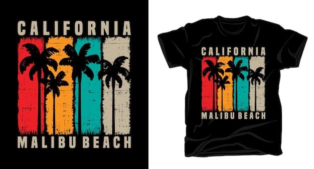 Tipografia vintage di california malibu beach con design t-shirt palme