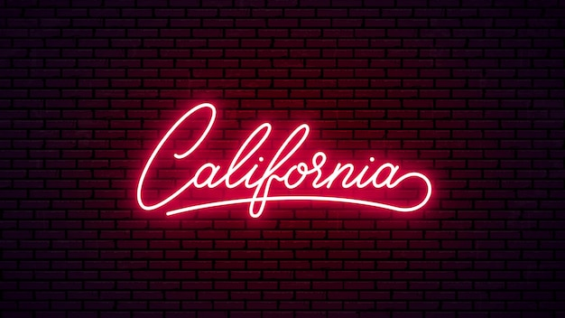 Insegna di lettere al neon della california. testo rosso incandescente