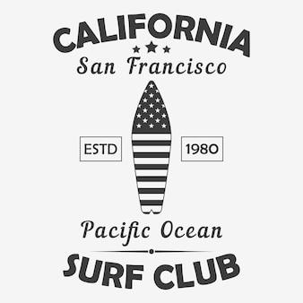 Tipografia della california san francisco per la grafica del club di surf dell'oceano pacifico della maglietta di vestiti di design