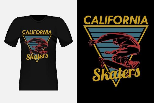 Illustrazione di progettazione della maglietta dell'annata della siluetta dei pattinatori della california