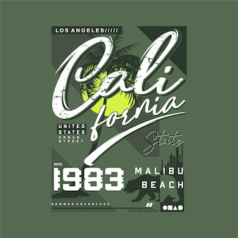 Tipografia dello stato della california sul tema della spiaggia per la stampa della maglietta