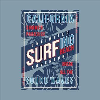 Disegno di tipografia grafica surf california