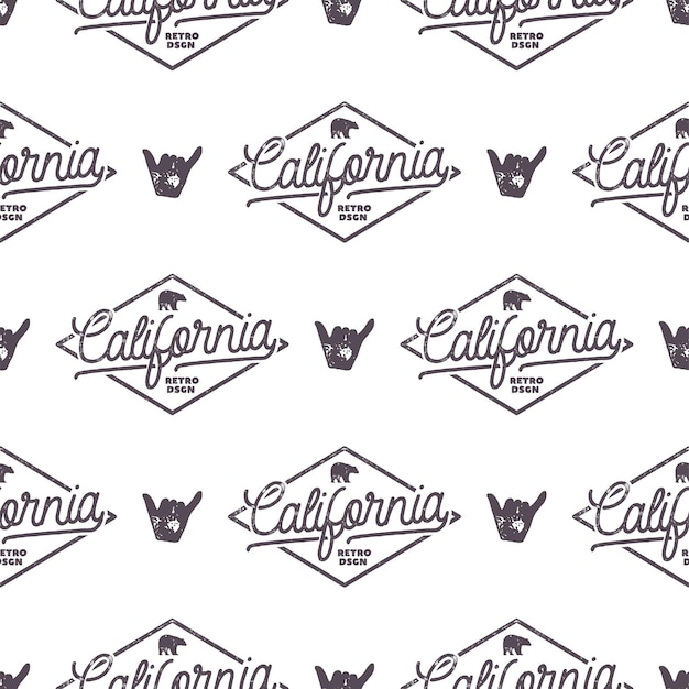 Modello senza cuciture monocromatico di california surf con segno di shaka ed elementi di tipografia. design della carta da parati della natura selvaggia. sfondo bianco isolato. per il web design, magliette, carta da regalo. vettoriali stock