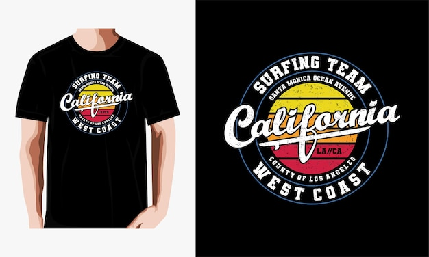 Design t-shirt tipografia squadra surf california