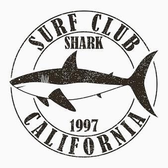 Tipografia da surf in california per maglietta di abbigliamento di design stampa grafica con squalo per abbigliamento