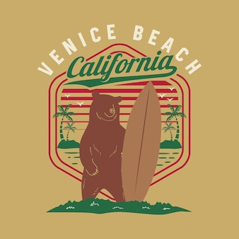 California venice beach con il grizzly bear surf