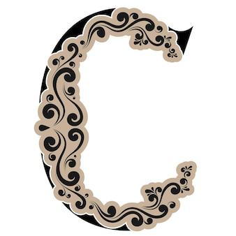 Lettera caligrafica c, alfabeto vettoriale decorativo vintage