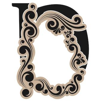 Lettera caligrafica d, alfabeto vettoriale decorativo vintage