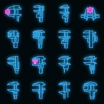 Set di icone di pinze. contorno set di pinze icone vettoriali colore neon su nero