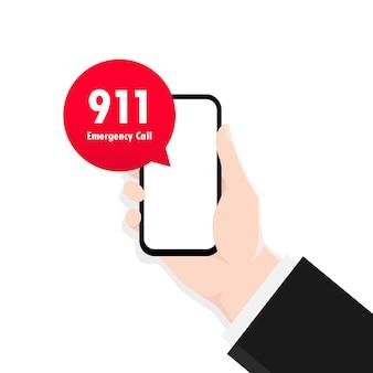 Chiama lo smartphone 911 in illustrazione stile piatto