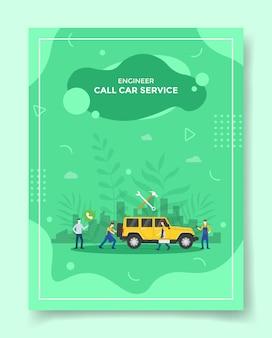 Chiama le persone del servizio auto utilizzando il telefono intorno al meccanico di automobili per il modello del volantino