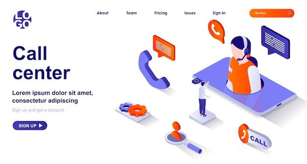 Pagina di destinazione isometrica 3d del call center con personaggi di persone