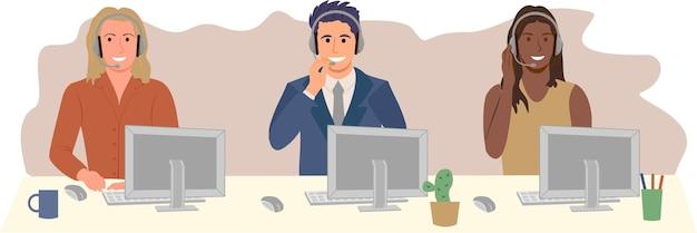 Agenti del call center hotline del call center piatto vettore impiegati sorridenti con le cuffie