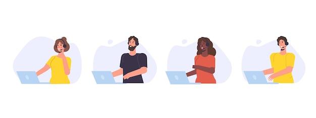 Insieme dell'avatar del call center. servizio clienti, concetto di hotline. impiegati con cuffie, agenti di telemarketing. illustrazione vettoriale