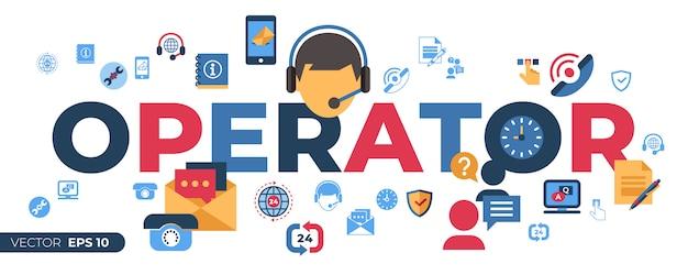 Call center e icone di supporto feedback aziendale
