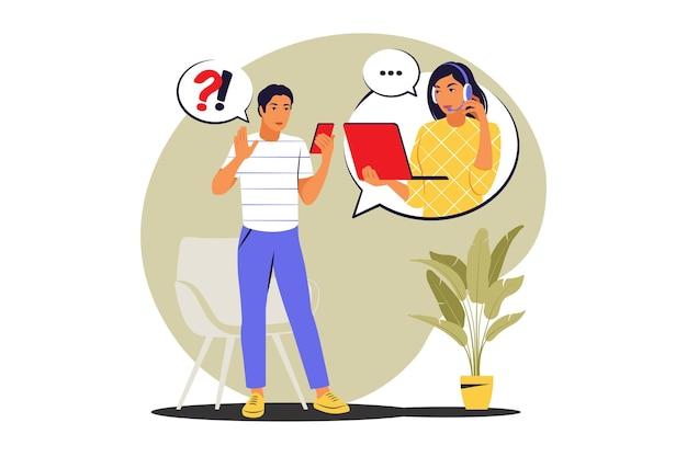 Concetto di call center. assistenza clienti, operatore hotline. illustrazione vettoriale. appartamento