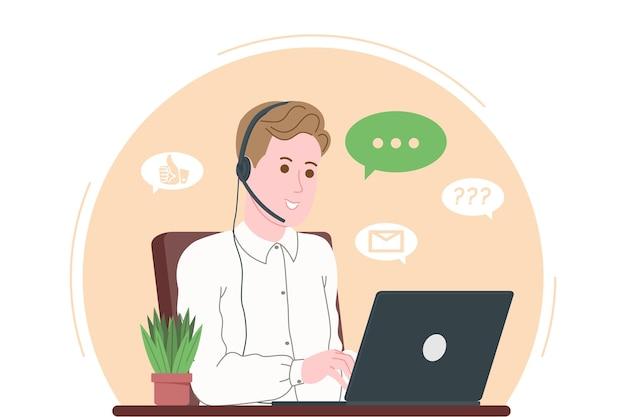 Call center, servizio clienti, landing page di supporto e assistenza. operatore uomo hotline con cuffie e laptop. concetto di telemarketing e consulenza. fumetto illustrazione vettoriale.