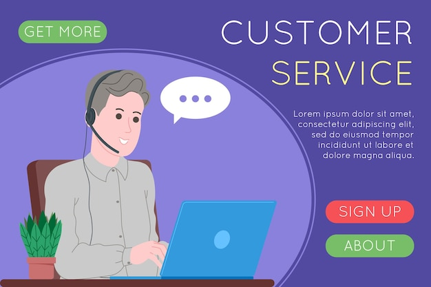 Call center, servizio clienti, landing page di supporto e assistenza. hotline uomo e donna operatore con cuffie e laptop. concetto di telemarketing e consulenza. fumetto illustrazione vettoriale.