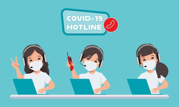 Numero verde per operatori di emergenza del call center per aiutare e supportare i pazienti durante la malattia da covid19