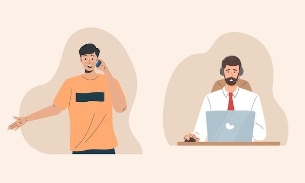 Call center che aiuta un cliente con un concetto di hotline
