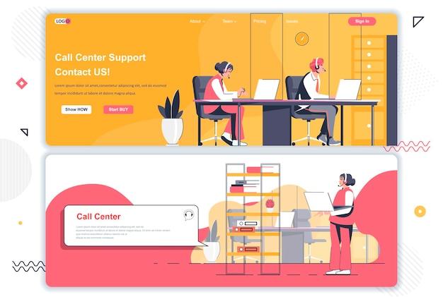 Pagine di destinazione del call center Vettore Premium