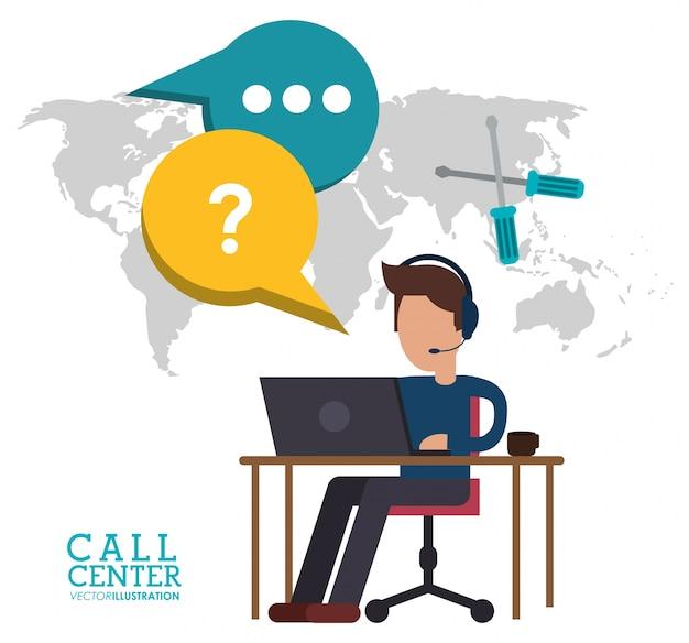Parlare di lavoro di scrivania uomo centro di chiamata