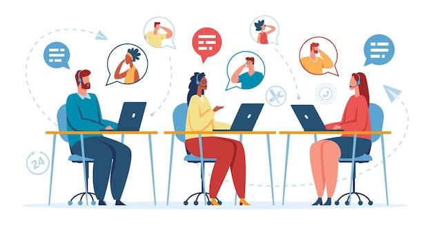Operatore di supporto online dell'ufficio call center con auricolare che parla con il concetto del cliente