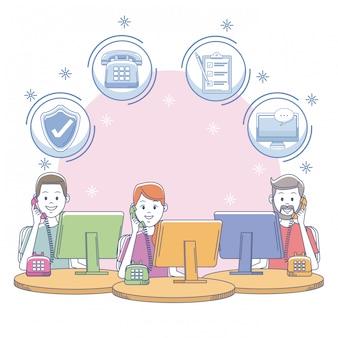 Call center ufficio sul posto di lavoro con le persone