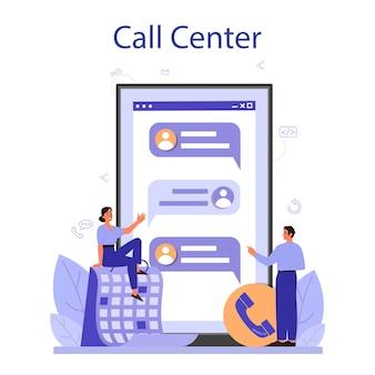Servizio online di call center o illustrazione della piattaforma in stile piano