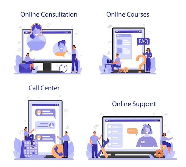 Servizio online di call center o set di piattaforme