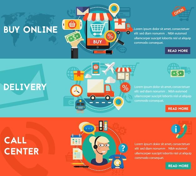 Call center, shopping online e banner di concetto di consegna. banner web in linea illustrazione stile piatto