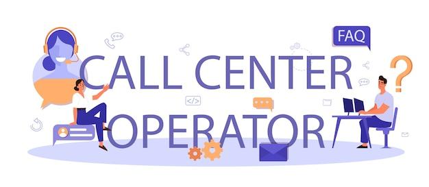 Intestazione tipografica dell'operatore di call center