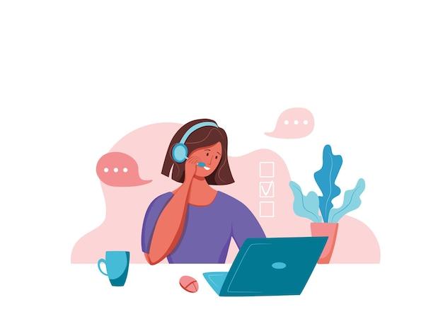 Illustrazione di vettore dell'operatore di call center. donna responsabile del supporto online del cliente che lavora in cuffie con microfono nel concetto piatto del fumetto dell'ufficio dell'assistenza clienti per web, banner, pagina di destinazione.