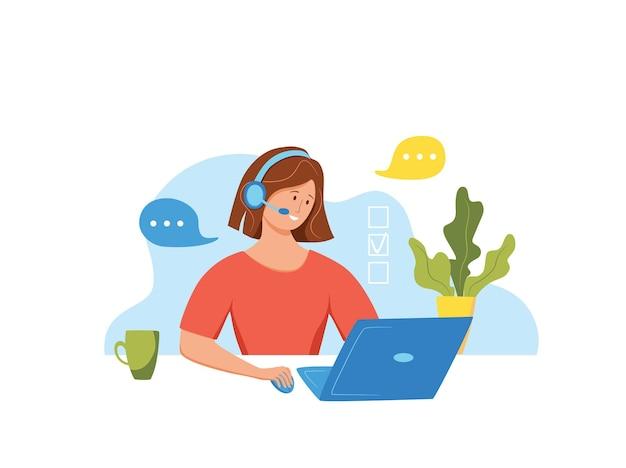 Illustrazione vettoriale dell'operatore del call center donna che lavora per il responsabile del supporto online dei clienti
