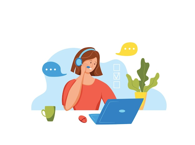 Illustrazione vettoriale dell'operatore del call center donna che lavora per il responsabile dell'assistenza online del cliente