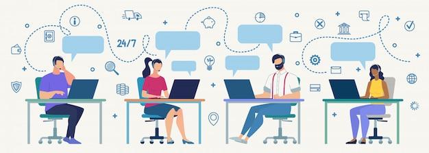Operatori di call center al concetto piano di vettore del lavoro
