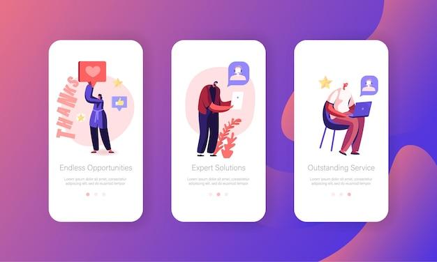 Set di schermate integrate della pagina dell'app mobile del servizio di call center.
