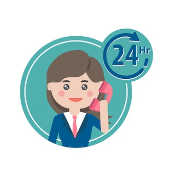 Team di supporto del call center. carattere di lavoro di servizio di call center