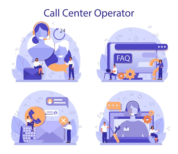 Call center o concetto di supporto tecnico impostato