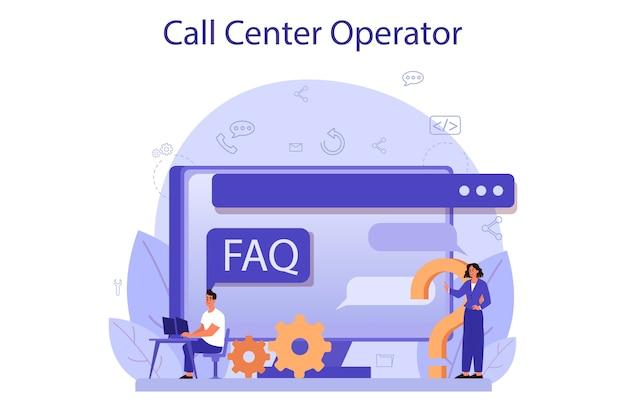 Call center o concetto di supporto tecnico.