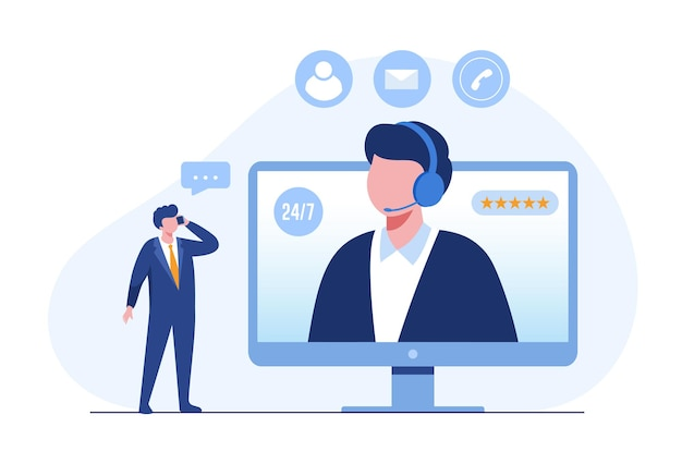 Call center e supporto tecnico per il cliente, consultazione online, illustrazione piatta vettoriale