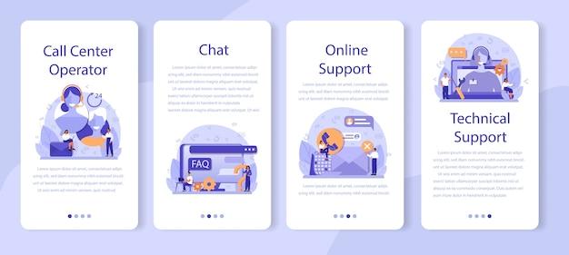 Call center o supporto tecnico set di banner per applicazioni mobili