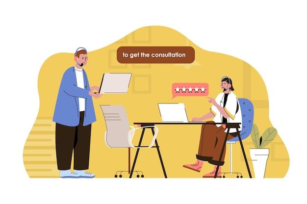 Illustrazione di concetto di web call center con carattere di persone piatte