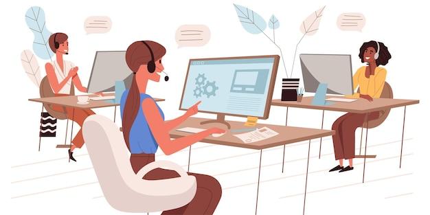 Illustrazione web del call center in stile piatto