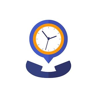 Icona del vettore di durata della chiamata, telefono e orologio