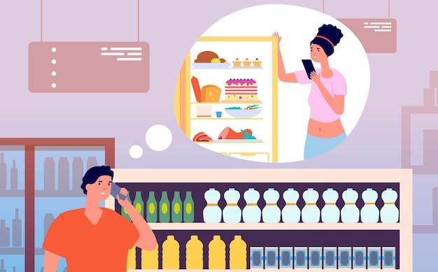 Chiama dal negozio. uomo che parla al telefono dalla drogheria con la donna vicino al frigorifero. il giovane marito compra gli alimenti a casa e chiama l'illustrazione vettoriale della moglie. personaggio nel telefono della drogheria a casa